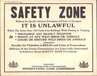 "Pennsylvania Game Commission Safety Zone Vintage 1950's Sign 14""x11"" 110716DBE"