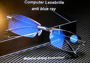 Leichte randlose Computer Lesebrille Anti-Blu-Ray Damen Herren 2 Farb. +1,0/+4,0