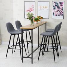 Set of 2 Grey Kitchen Breakfast Bar stools Chairs Fabric Seat Metal Legs Bar Pub