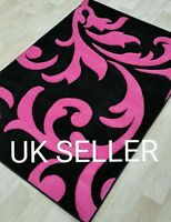 PINK GIRLS RUGS SOFT THICK MODERN DESIGN RUG SMALL LARGE SUPERIOR QUALITY NEW
