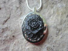 STAINLESS STEEL BLACK ROSE CAMEO URN NECKLACE - MOURNING, ASHES, LOCK OF HAIR