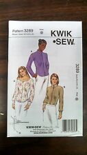 New Kwik Sew Pattern Unopened Misses Blouses Sizes Xs-S-M-L-Xl # 3289