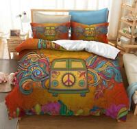 3D Hippie Peace Car ZHUA153 Bed Pillowcases Quilt Duvet Cover Set Queen King Zoe