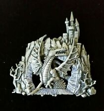 J.J. Dragon and Castle Pewter Brooch Pin - Vintage - Great Gift Idea RARE