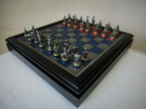 VINTAGE CHESS SET FRANKLIN MINT 1987  BATTLE OF WATERLOO PLUS CHESS CABINET