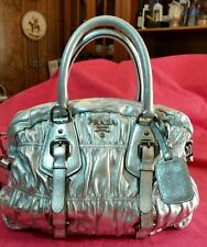 Prada nappa gaufre bowler in Silver Metallic pleated ruched Bag
