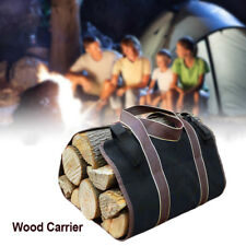 Firewood Carrying Bag Canvas Wood Carrier Log Tote Outdoor Camping Picnic Holder