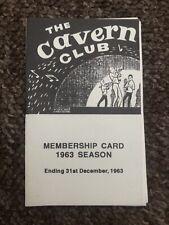 Cavern Club Beatles 1963 Membership Card 1980's Reproduction.