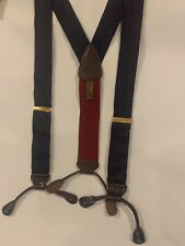 TRAFALGAR Mens Suspenders Paisley Navy Leather Tabs Burgundy Adjustable Silk