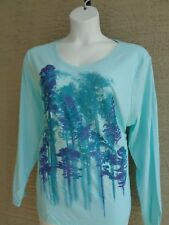 NWT Just My Size 4X  Light Weight L/S V Neck Glitzy Graphic Tee Top Soft Mint