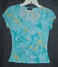 Vtg 90s blue floral print top Sz Small
