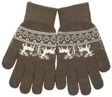 RJM Adults Knitted Touch Screen Phone Gloves Fairisle Pattern One Size brown