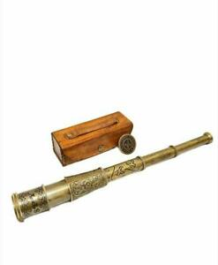 "16"" Nautical Antique Brass Engraved Telescope Marine Spyglass with Leather Case"