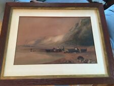 Antique 1800's original English seascape WATERCOLOR Clarkson Stanfield DAVID COX