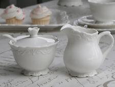 Chic Antique Provence Milchkännchen & Zuckerdose Set Weiß Shabby Chic Deko