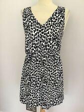 NEXT black & white Dalmatian print hi low hem dress UK 12