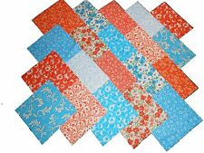 "40 5"" Quilting Fabric Squares VIBRANT BLUES AND ORANGE/BUY IT NOW!!!"