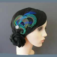 20's Flapper Peacock feather Leaf Diamante Flower Clip Fascinator Hairdress Wed