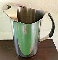 Vintage Mid-Century 2 Quart Stainless Steel Ice Water Pitcher