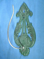 Vintage Cast Iron Green Wall Mount Bill Spike / Paper Receipt Holder
