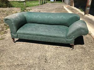 Antique Edwardian Chesterfield drop end sofa, chaise, cabriole legs pad feet