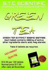 Green Tea Tablets 120 tabs p/bag massive 400mg EGCG Per Serve.