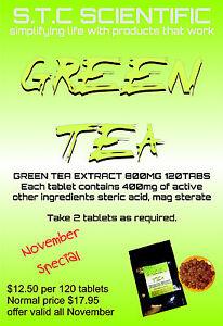 Green Tea Tablets 120 tabs p/bag massive 400mg EGCG Per Serve.2 Packs 240 Total.