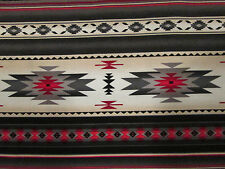 Navajo Native American Gray Cream Red Border Print Cotton Fabric BTHY