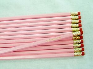 """12 Hexagon """"Pastel Pink"""" Personalized Pencils"""
