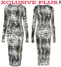WOMENS TRIABLE CELEB ANIMAL PRINT LONG MIDI LADIES BODYCON GOING OUT DRESS 8-14