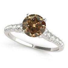 1.01 Carat Natural Brown Cognac Diamond Solitaire Wedding Band Ring 14k Gold
