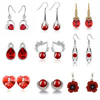 Red Agathe Crystal Heart Seashell Poppy Stud Drop Dangle Party Bridal Earrings