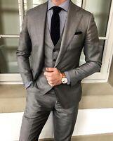 Men's Gray 3Piece Fomal Slim Fit Tuxedo Suit Wedding Suit Dinner Business Custom