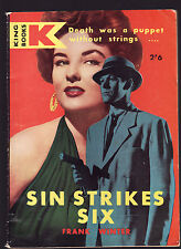 FRANK WINTER - SIN STRIKES SIX  first Australian edition ?  pulp fiction