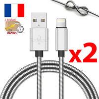 CABLE PARA IPHONE 7 6 5 8 PLUS IPOD DEL IPAD CARGADOR USB METAL REFORZADA 1M