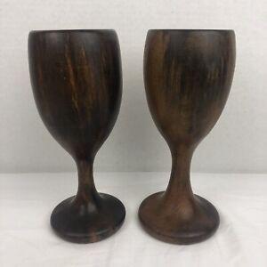 Vintage Wooden Tulip Shape Stemware Goblet Set of 2