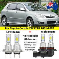 For 2002 2003 2004 Toyota Corolla ZZE122R 4x Headlight Globes High low LED bulbs
