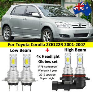 For Toyota Corolla ZZE122R 2001-2007 4x Headlight Globes high low beam LED bulbs