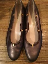 Salvadore Ferragamo Bronze Flat Size 7 1/2 AA With Gold Logo EUC Women's Shoes