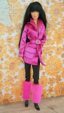 BARBIE CHIC FASHIONS Pink Satin Trench Coat Outfit with Boots