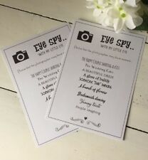 "10 Handmade Wedding Themed ""I Spy"" Cards Game Table Entertainment"