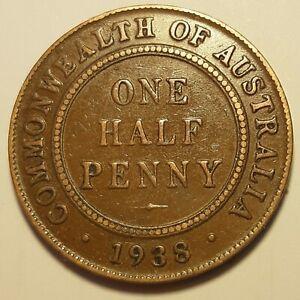 1938M 3/A ~ AUSTRALIAN HALF PENNY ~ BRONZE (J19-1)