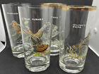 """Vintage Set of 4 Ned Smith Game Birds Highball Glasses 5.5"""" Gold Rim ~ Beautiful"""