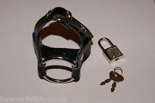 Leather Chastity Cage / Cock Ejaculation Delay Ring Bondage Strap with Padlock