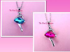 Blue & Pink Austrian Crystal & 18KWGP Ballerina Ballet Dancer Necklace