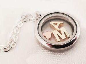 personalisierte Medaillon-Kette Initialen Buchstaben Floating Herz silber gold