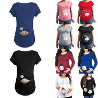 Happy Mama .Woman's Maternity Baby Loading Feet Funny Print T-shirt Top NG200