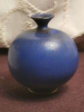 BERNOT FRIBERG FOR GUSTAVSBERG Small Stoneware Vase In Blue Glaze