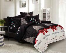 Cal King Size Christmas Print 3pc Bedding Set: 1 Duvet Cover & 2 Pillow Shams