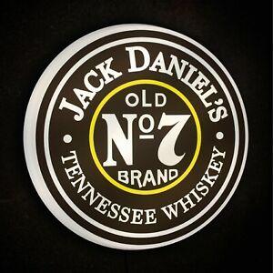 JACK DANIELS WHISKY Light up LED bar wall sign logo pub spirits man cave garage